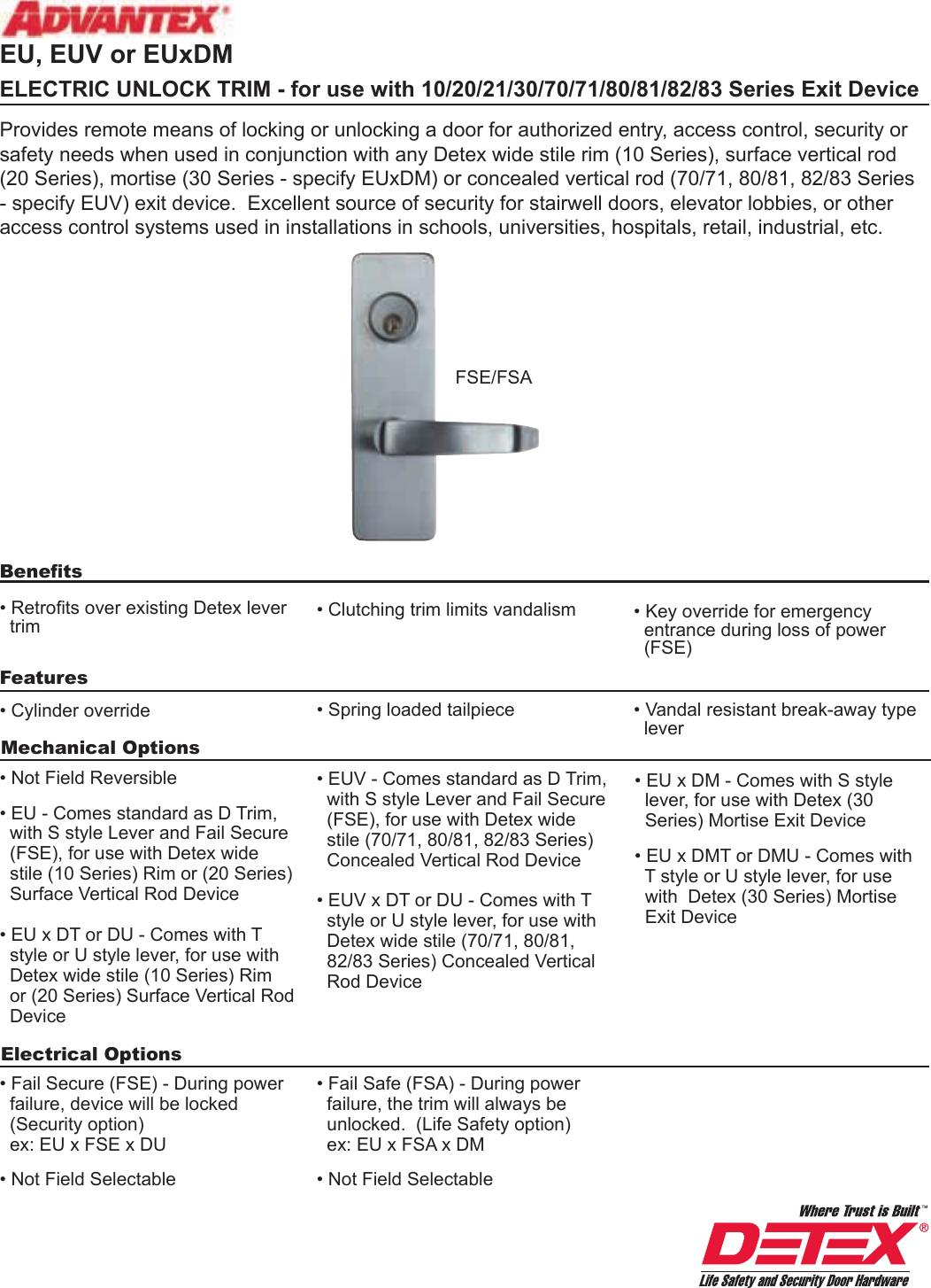 Detex Key Locks and Unlocks S Lever Standard Outside Trim Powder Coated Aluminum Finish