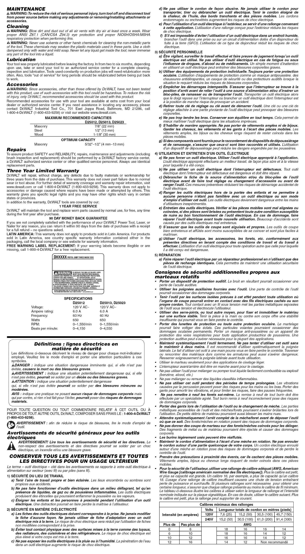 Dewalt D25012K TYPE1 1212502L User Manual DRILL HAMMER Manuals And