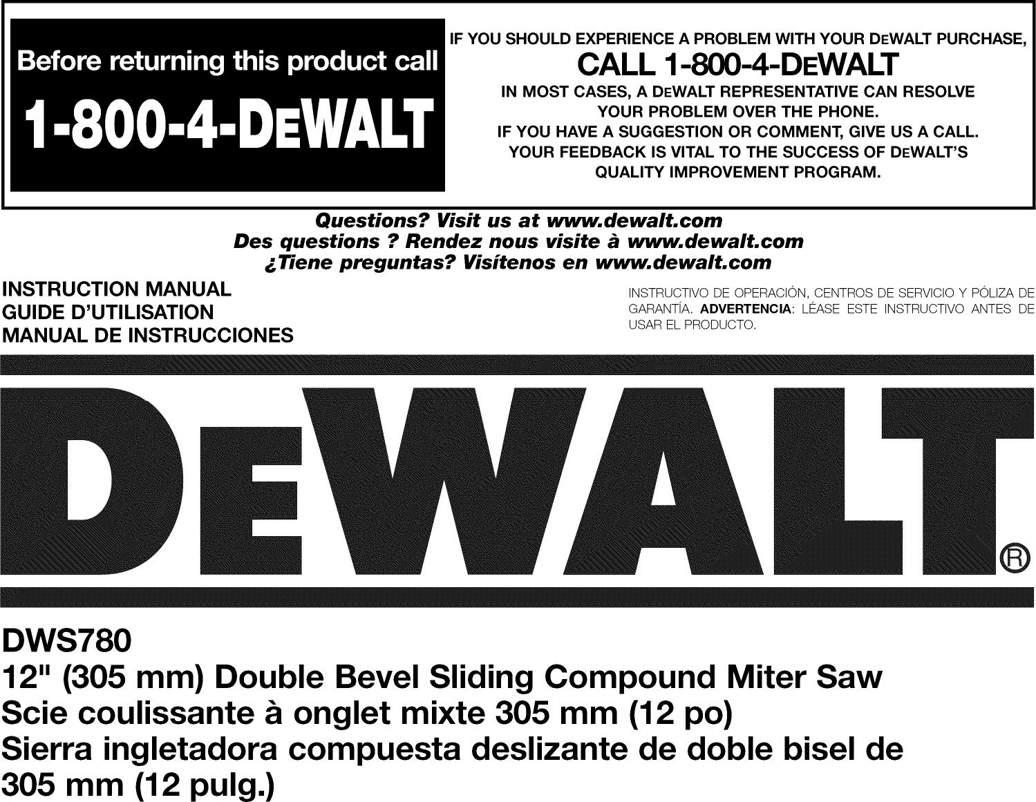 Dewalt DWS780 305 mm Double Biseau Coulissant Mitre Scie 110 V