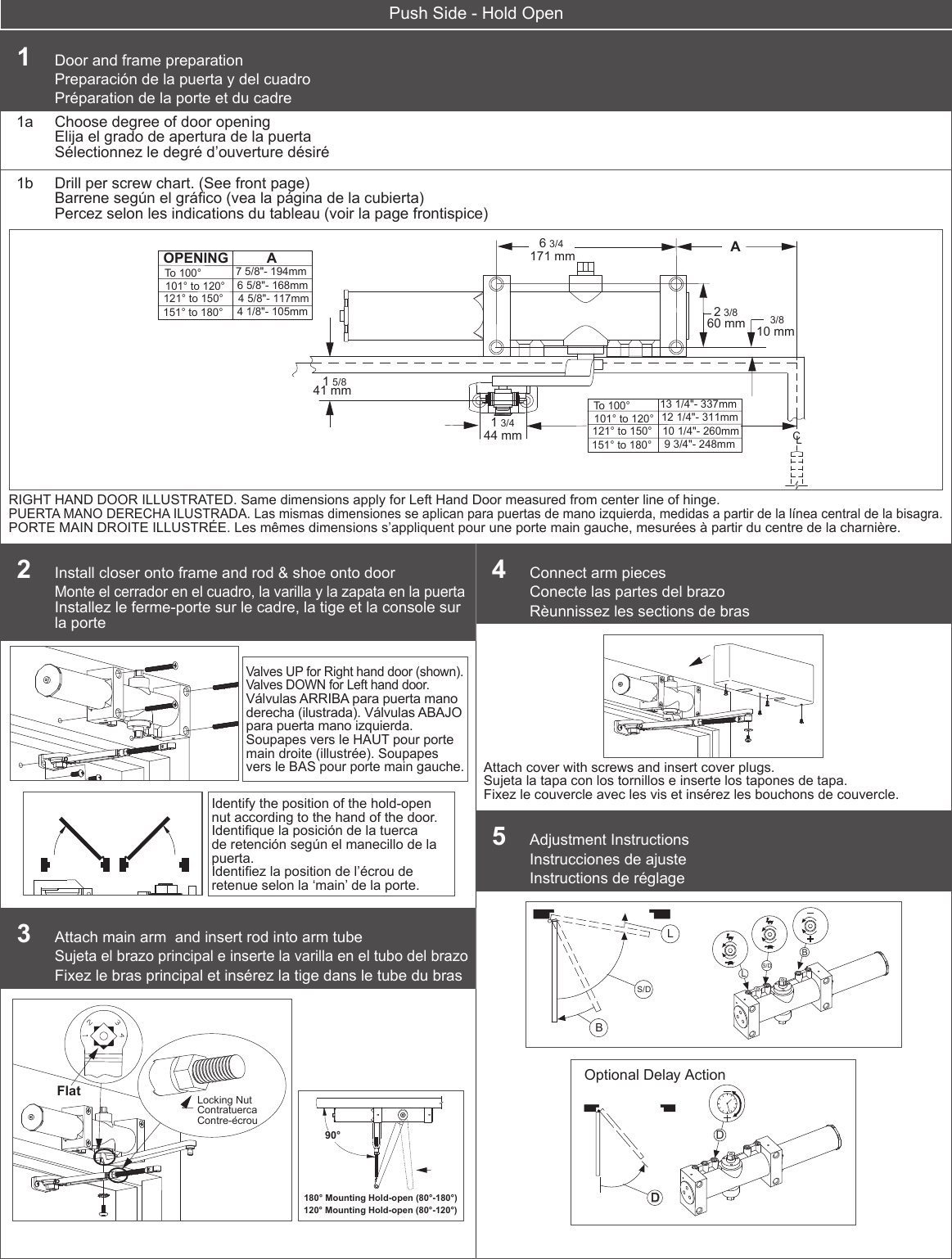 Dexter Falcon Dch1000 Series Door Closer Hold Open S Manual Guide