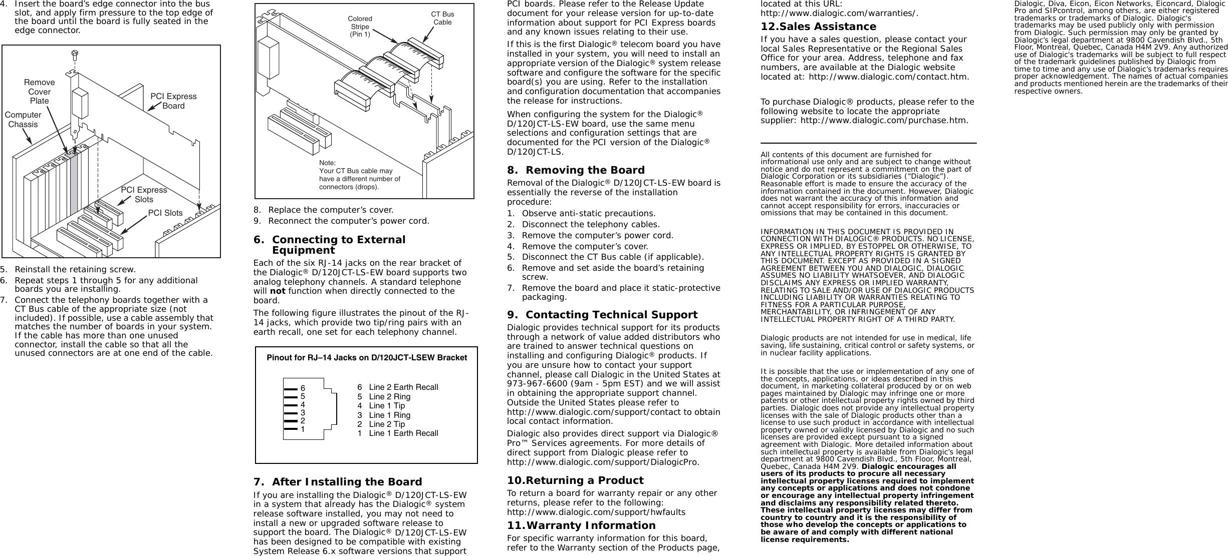 Dialogic Media Board D 120Jct Ls Ew Users Manual D120JCT LSEW_D