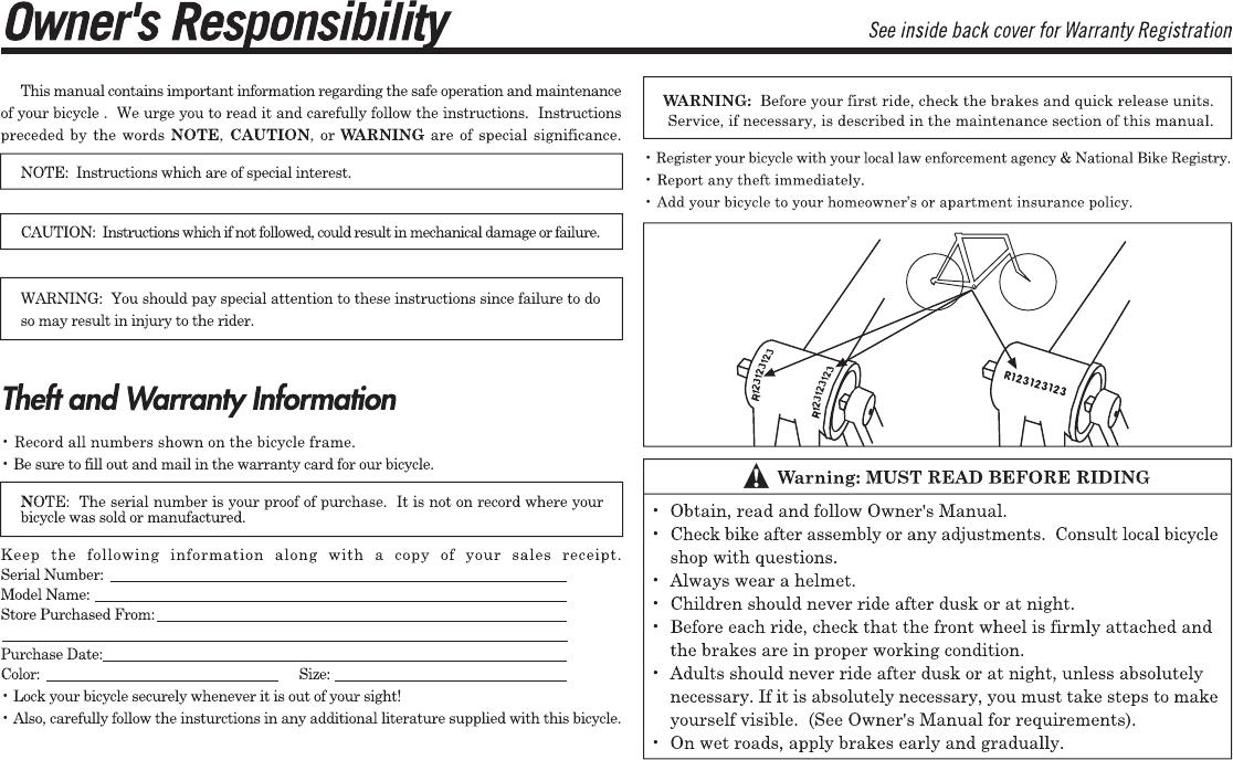 Diamondback 06 Db Ss Om Users Manual 06 DB For PDF