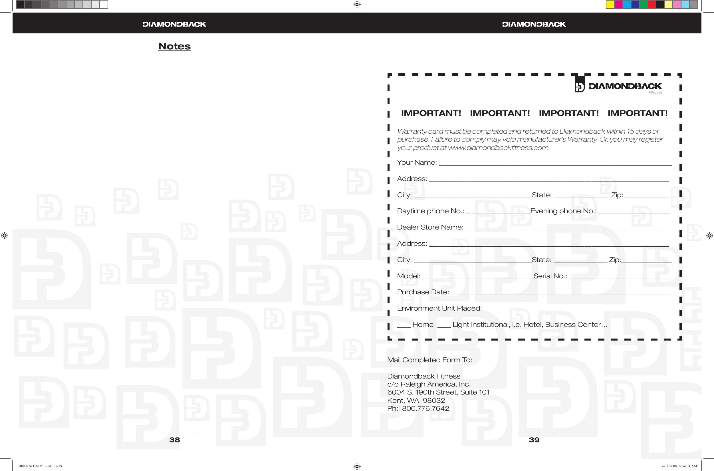 Diamondback 500Sr Users Manual 500Ub Sr OM R1