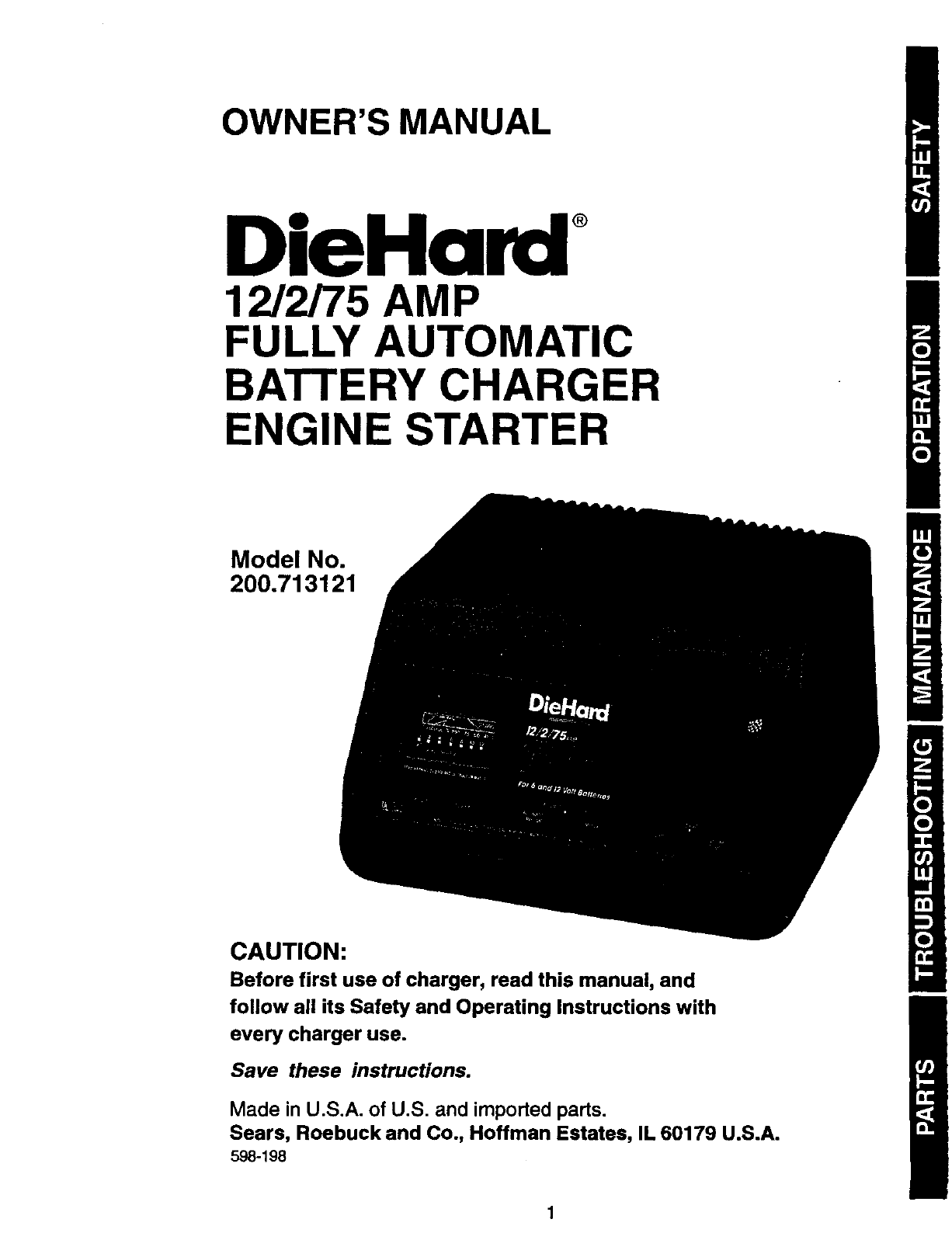 Diehard 200713121 User Manual Battery Charger Manuals And Guides Die Hard Wiring Diagram L0305320