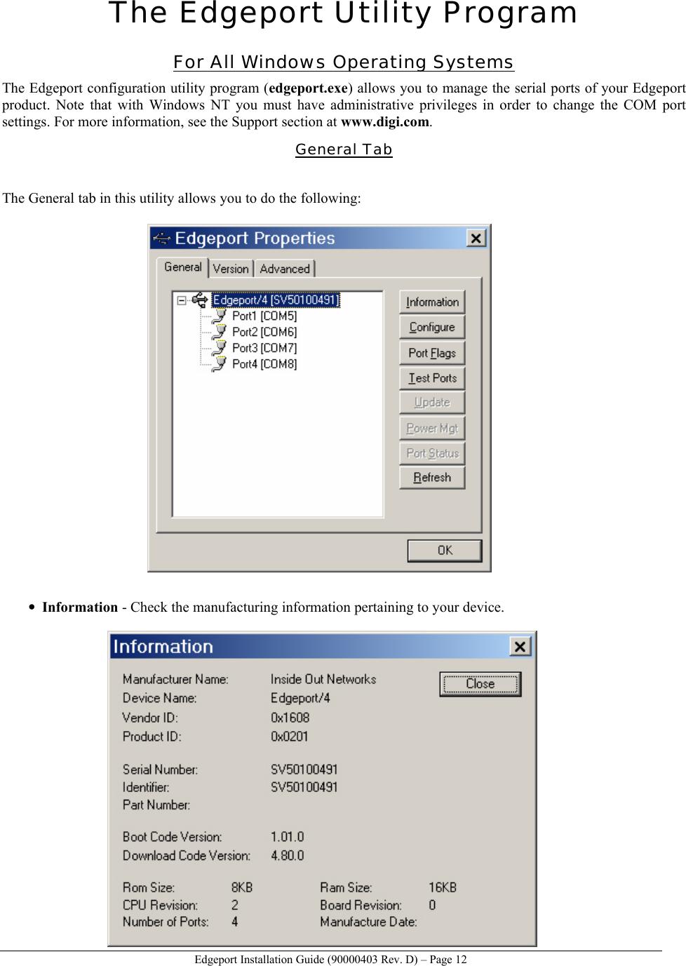 Digi Edgeport 1 Users Manual C