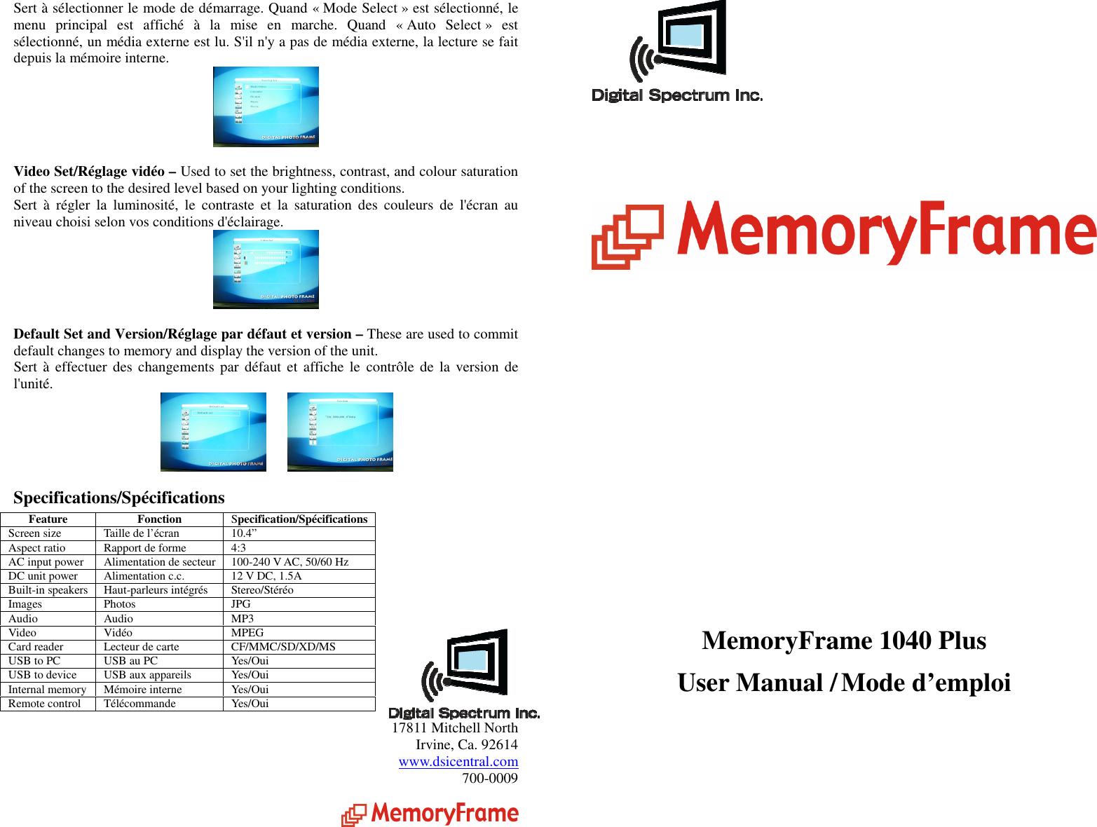 Digital spectrum memoryvue 1040 plus users manual memoryframe mf page 1 of 6 digital spectrum digital spectrum memoryvue 1040 publicscrutiny Images