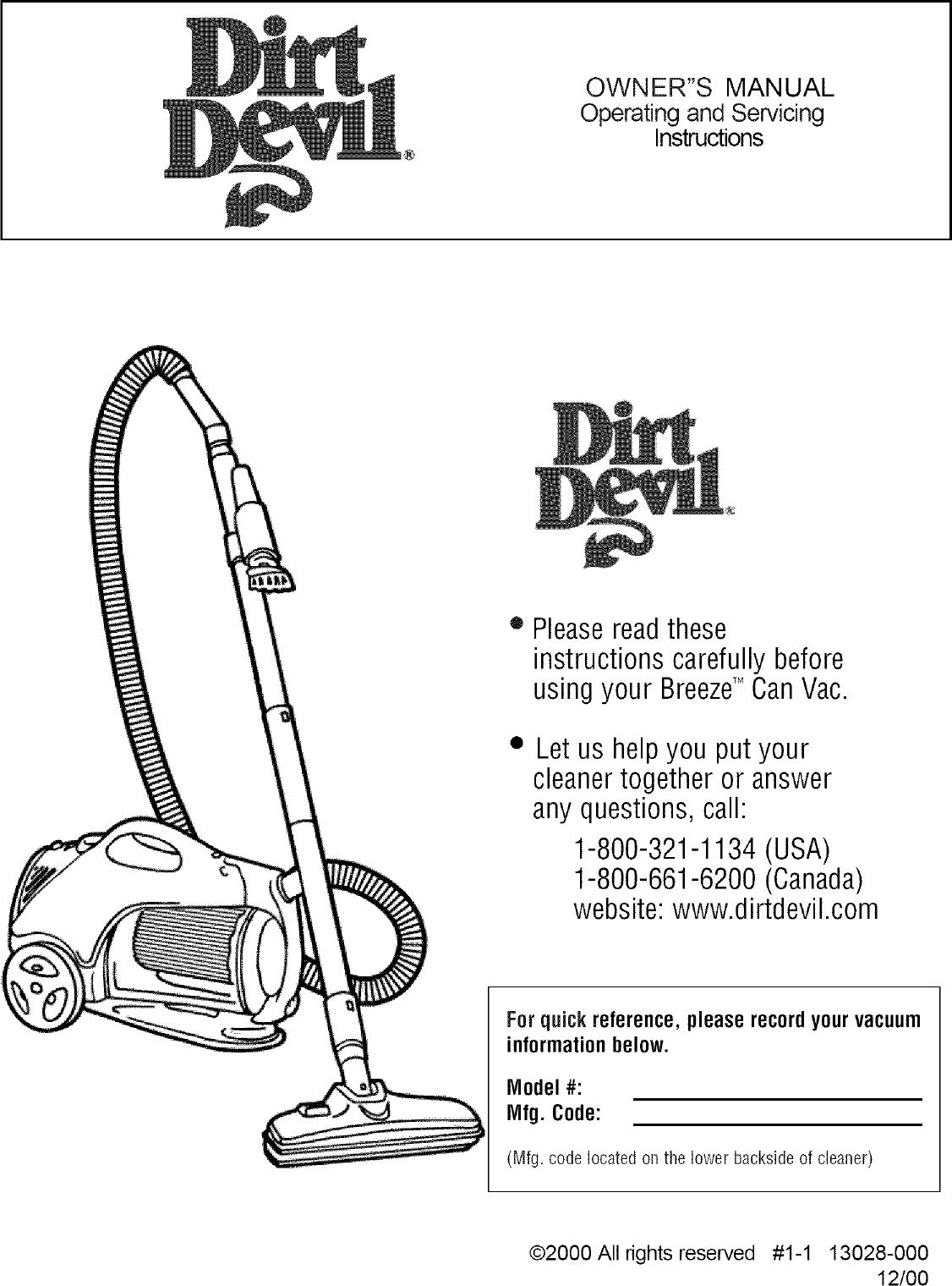 dirt devil 082500 user manual breeze vision manuals and guides l0406053 rh usermanual wiki Dirt Devil Bagless Upright Vacuum dirt devil user manual