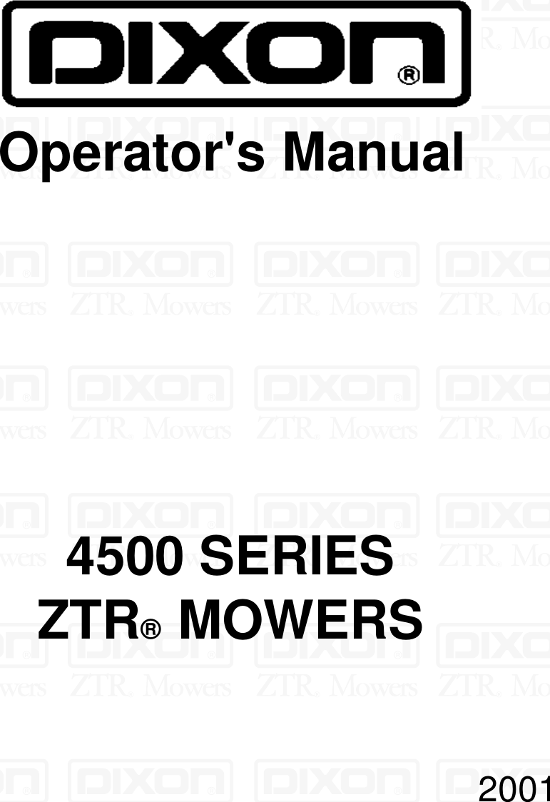Dixon Ztr 4515b 2000 Wiring Diagram Parts Electrical Diagrams Zero Turn Mower 13088 1100a Users Manual Om 4500 Series 4516k Online