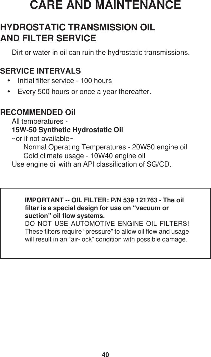 Dixon Black Bear Ztr 34 44 Users Manual 539 118101IR