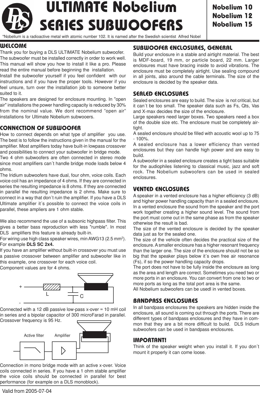 Dls Svenska Ab Ultimate Nobelium 10 Users Manual Om_NO_subs