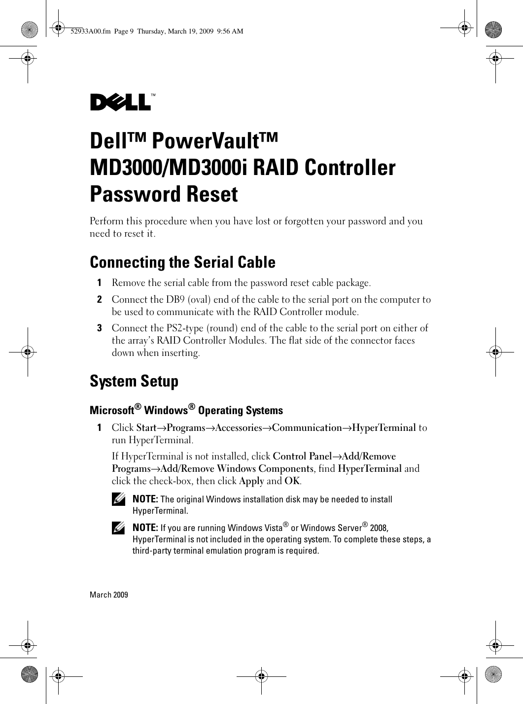 Dell™ PowerVault™ MD3000/MD3000i RAID Controller Password