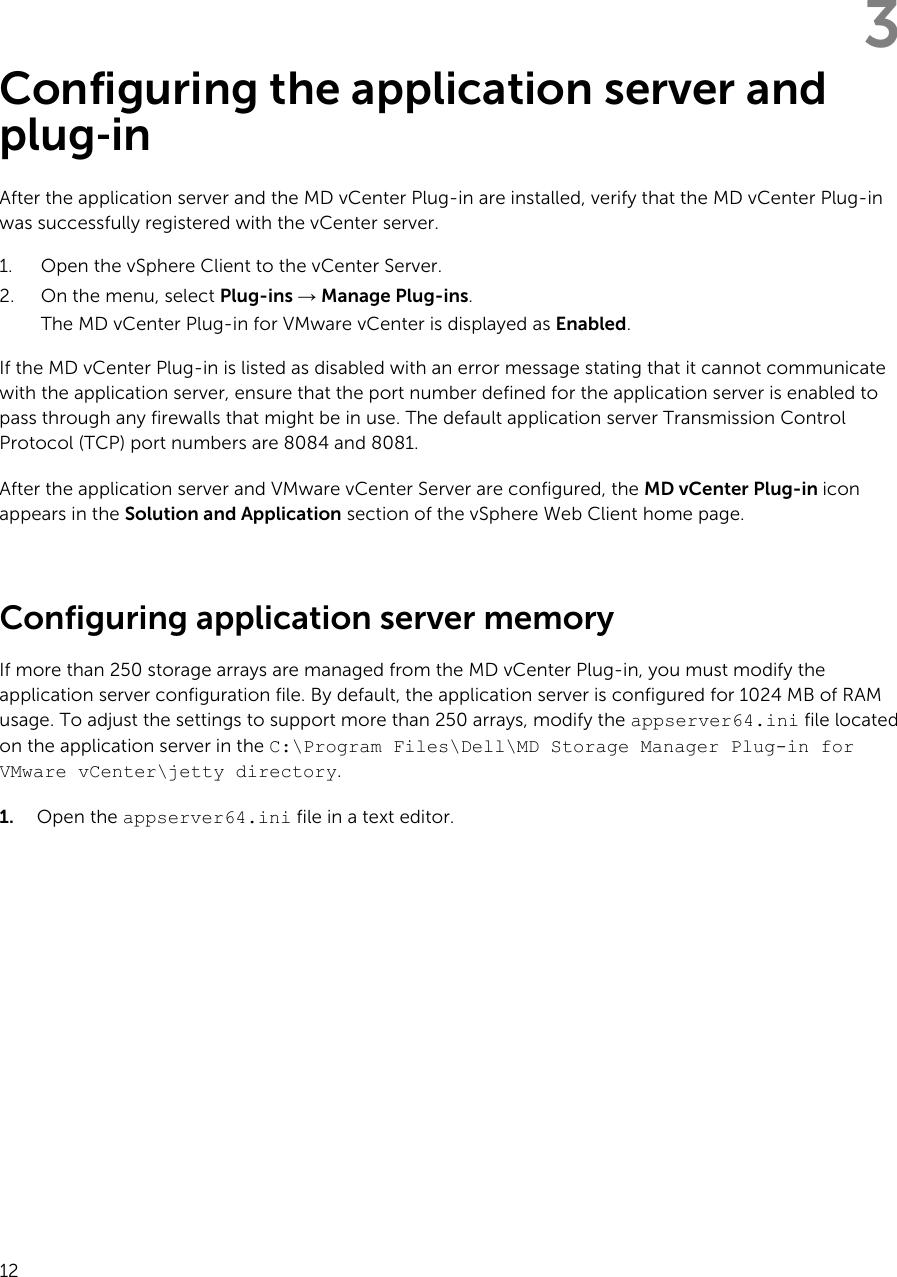 Dell PowerVault MD Series VCenter Plug in For VMware VSphere