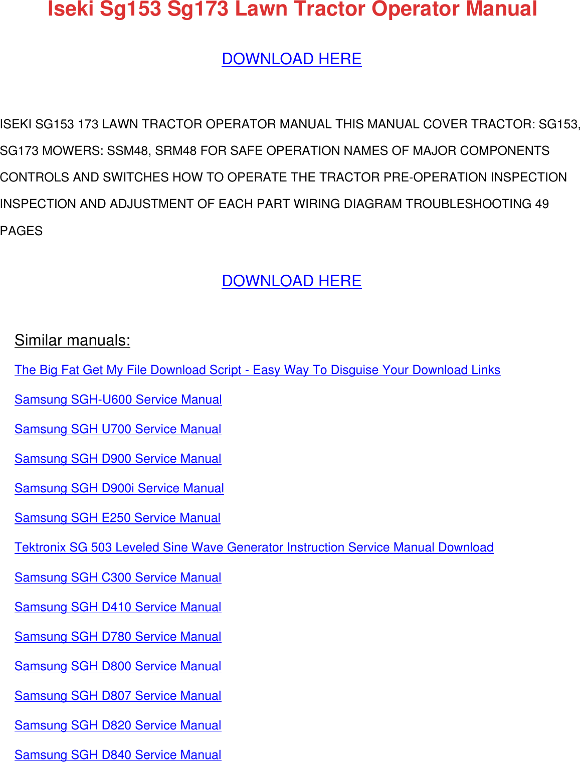 182287082 iseki sg153 sg173 lawn tractor operator manual 182287082 iseki sg153 sg173 lawn tractor operator manual fandeluxe Image collections