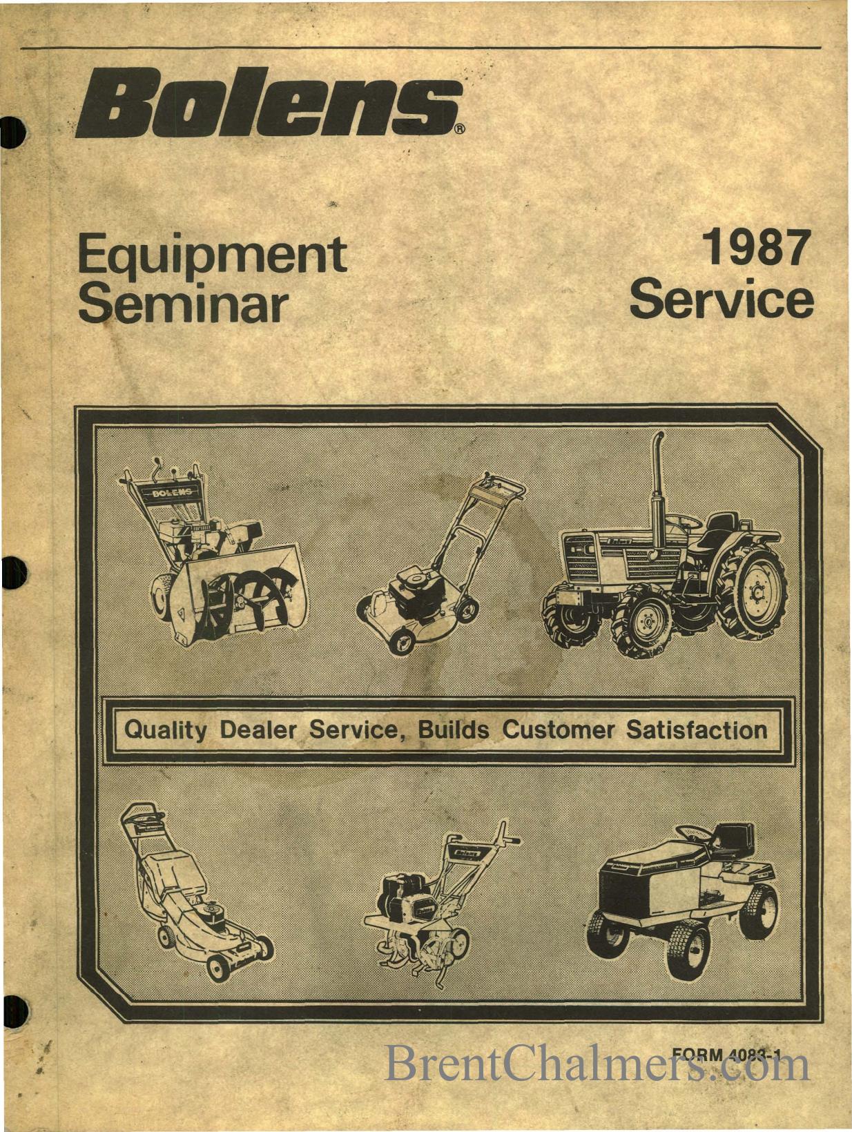 1987 BOLENS EQUIPMENT SERVICE SEMINAR on