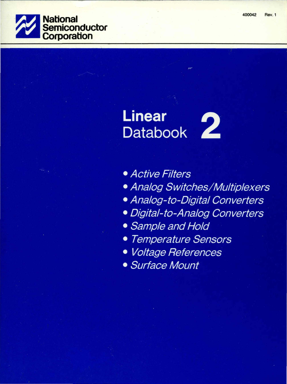 1988 National Linear Databook Volume 2 Single Polarity Supply By Ic Lm741