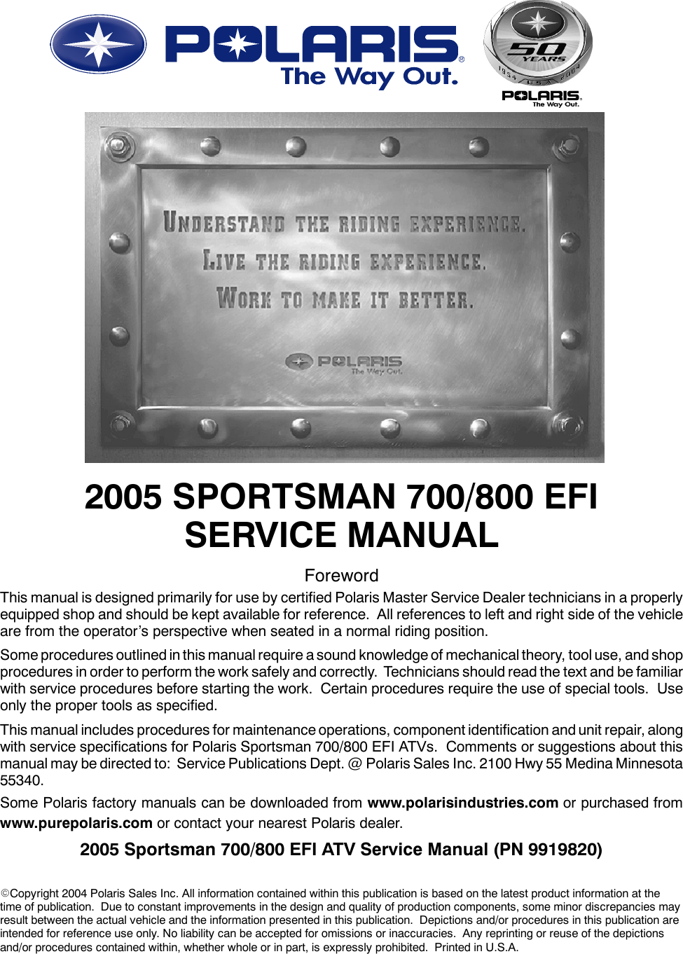 2005 Polaris Sportsman 700 EFI & 800 Service Manual