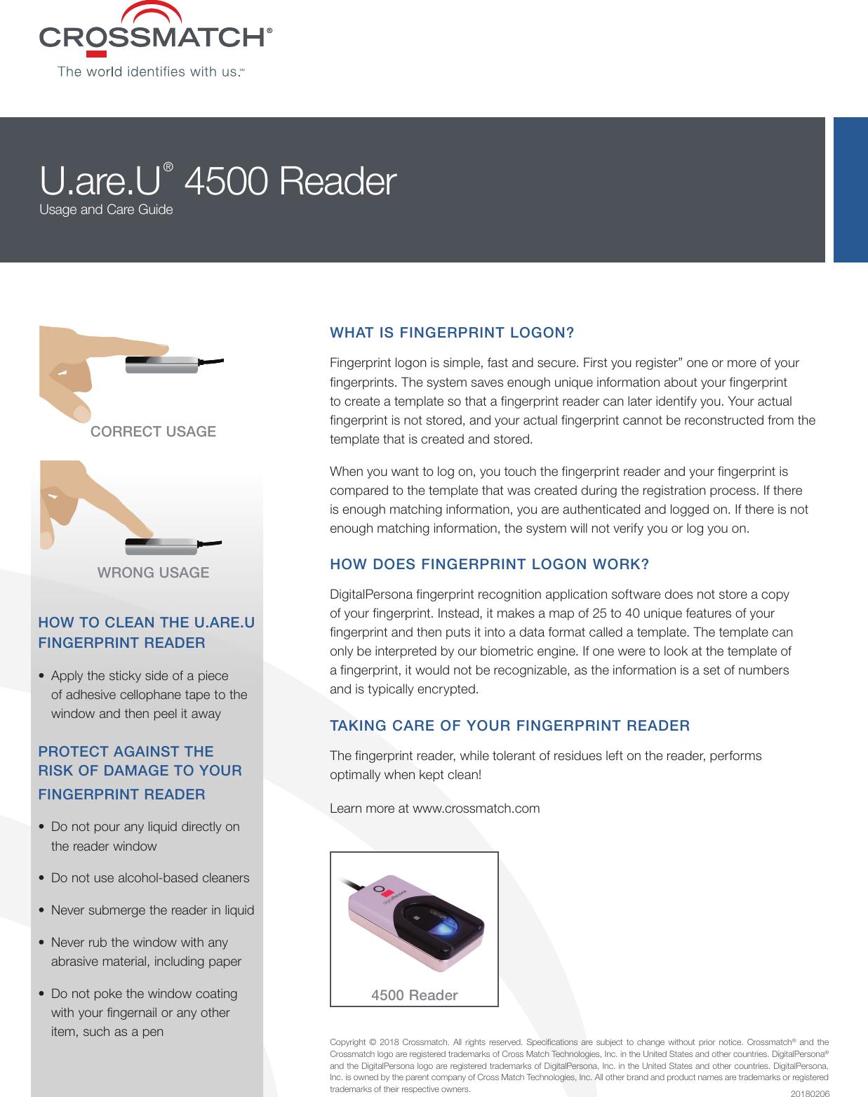Crossmatch | U are U 4500 Reader Usage And Care Guide