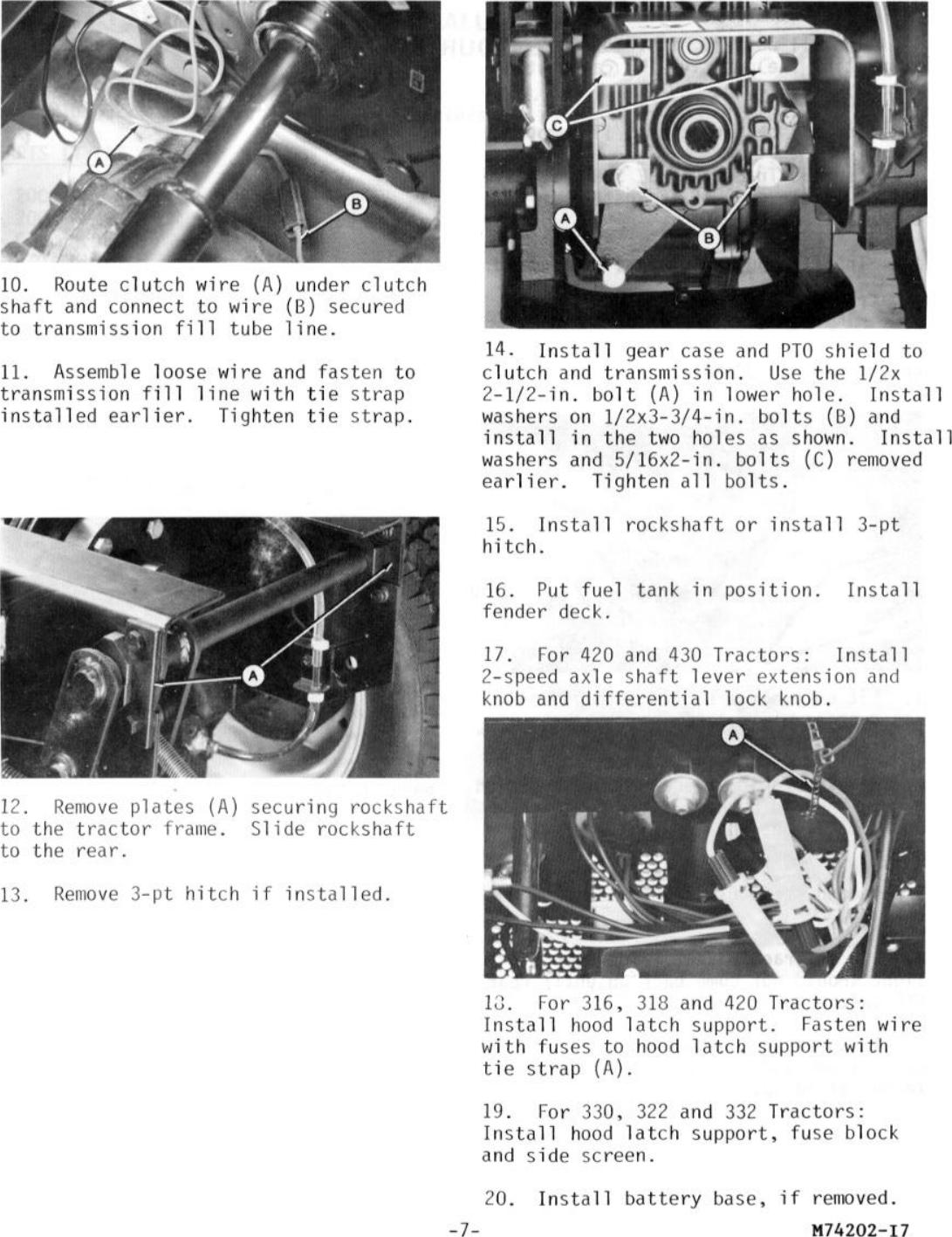 2000 RPM Rear PTO Attachment 316, 318, 322, 330, 332, 420, & 430