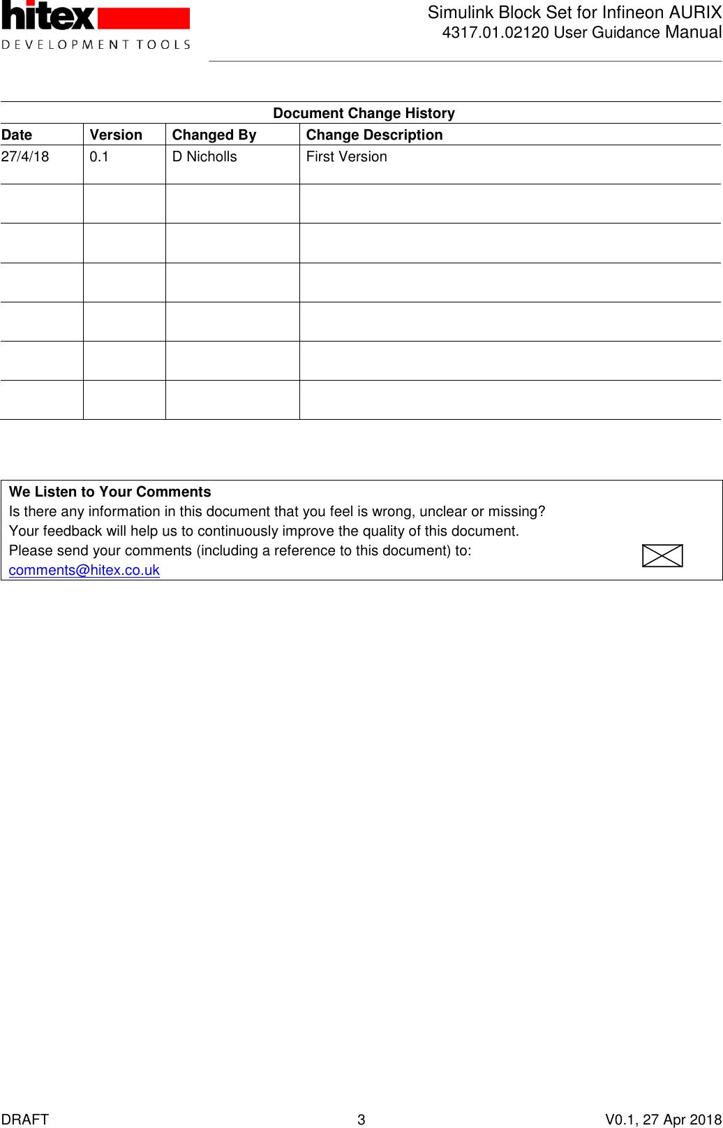 User Guidance Manual 4317 01 02120 AURIX Simulink Blockset