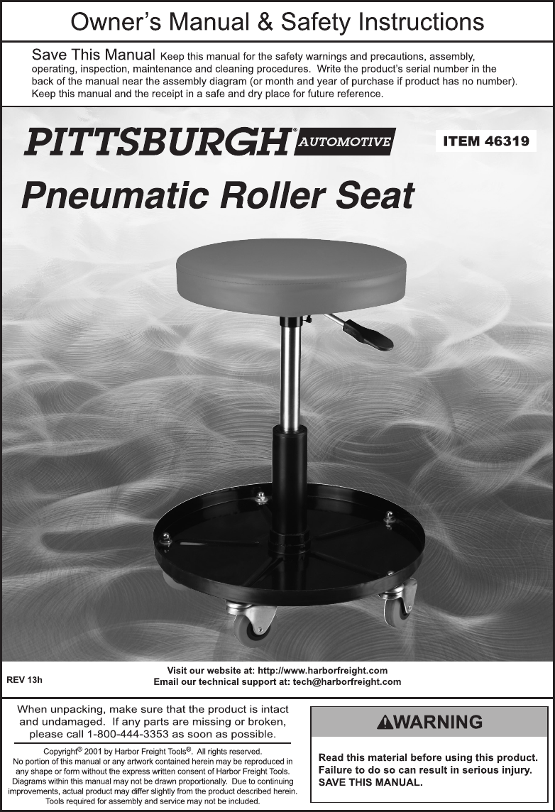 Cool Manual For The 46319 Pneumatic Adjustable Roller Seat Ibusinesslaw Wood Chair Design Ideas Ibusinesslaworg