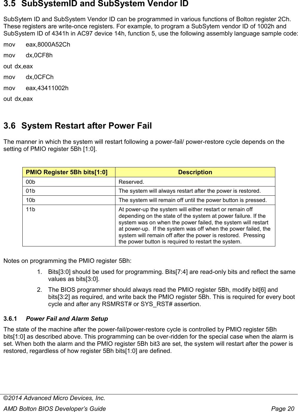 AMD Bolton FCH BIOS Developer's Guide 51205 Dev