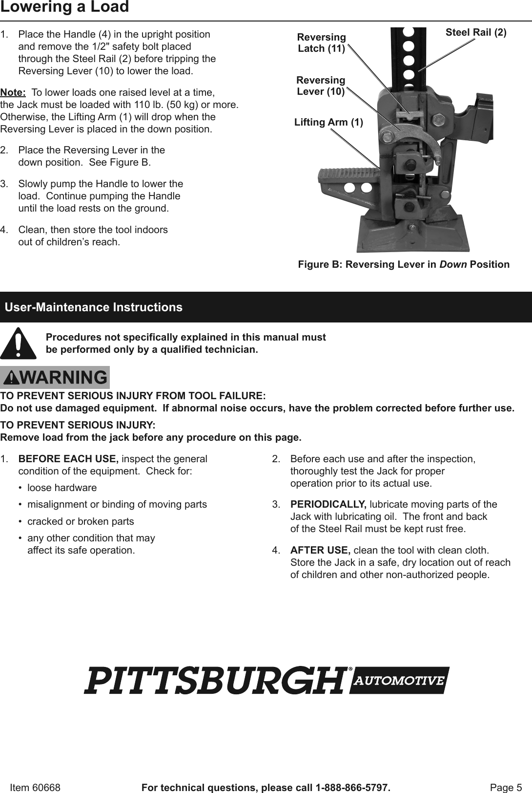 Manual For The 60668 42 In  High Lift Farm Jack