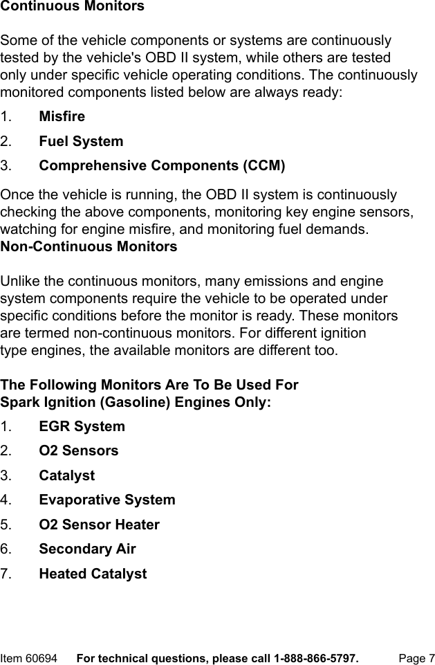 Manual For The 60694 CAN & OBD II Professional Scan Tool