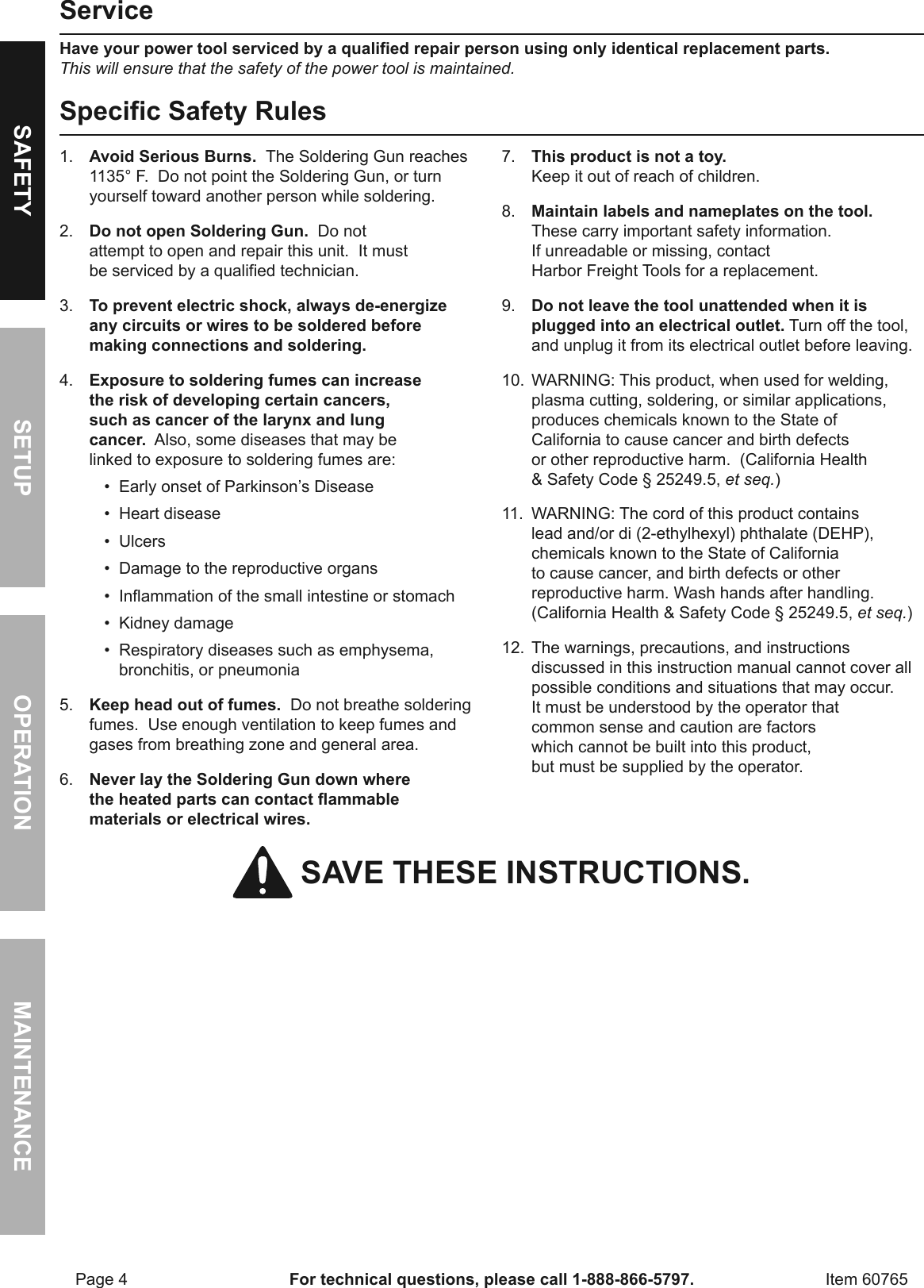 Manual For The 60765 180 Watt Industrial Soldering Gun