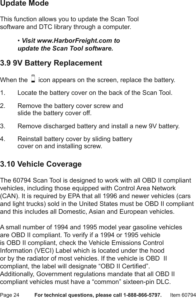 Manual For The 60794 OBD II & CAN Scan Tool With ABS