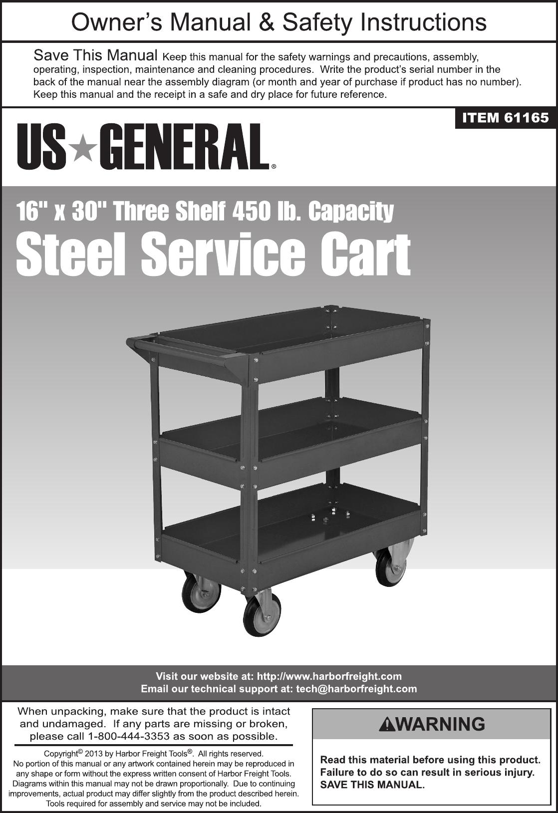 """16/"""" x 30/"""" Three Shelf Steel Service Cart"""