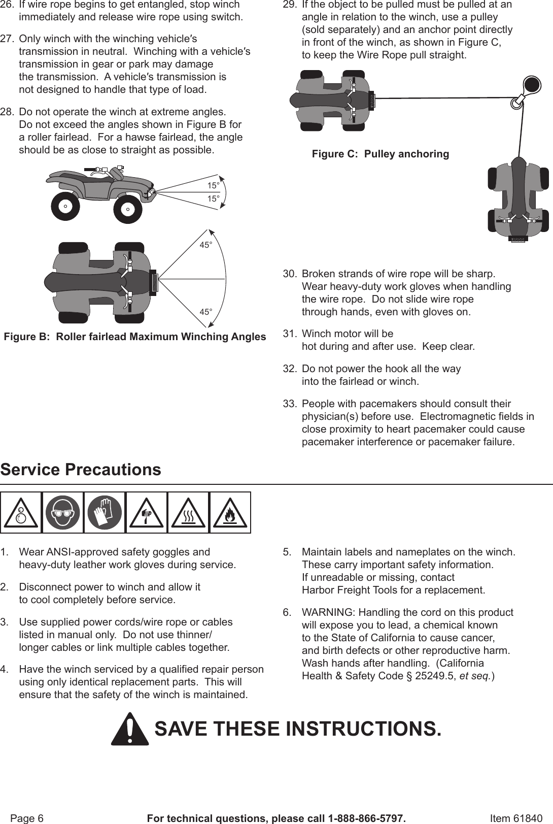 Manual For The 61840 2500 Lb  ATV/Utility Electric Winch