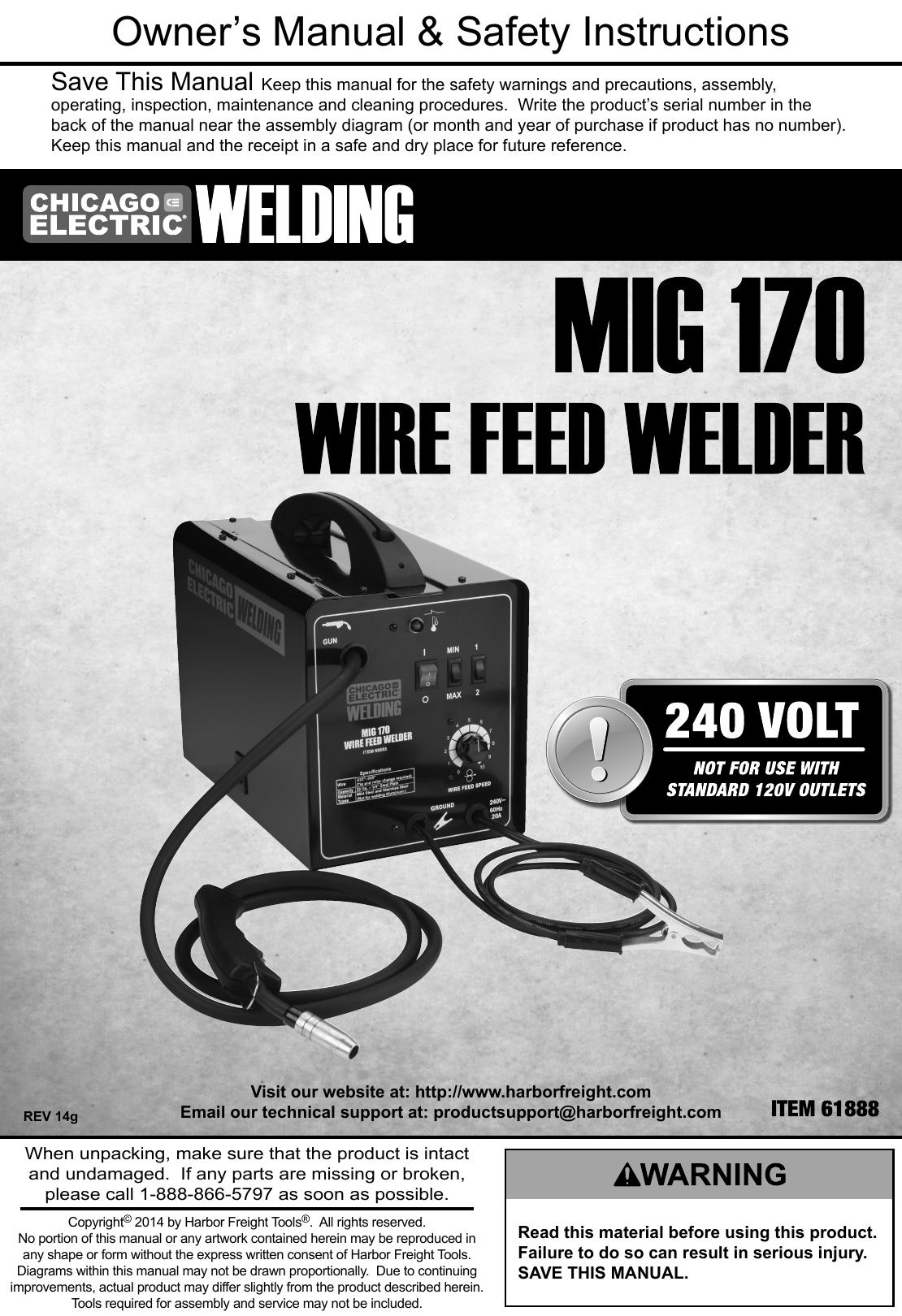 Manual For The 61888 170 Amp DC, 240 Volt, MIG/Flux Cored Welder