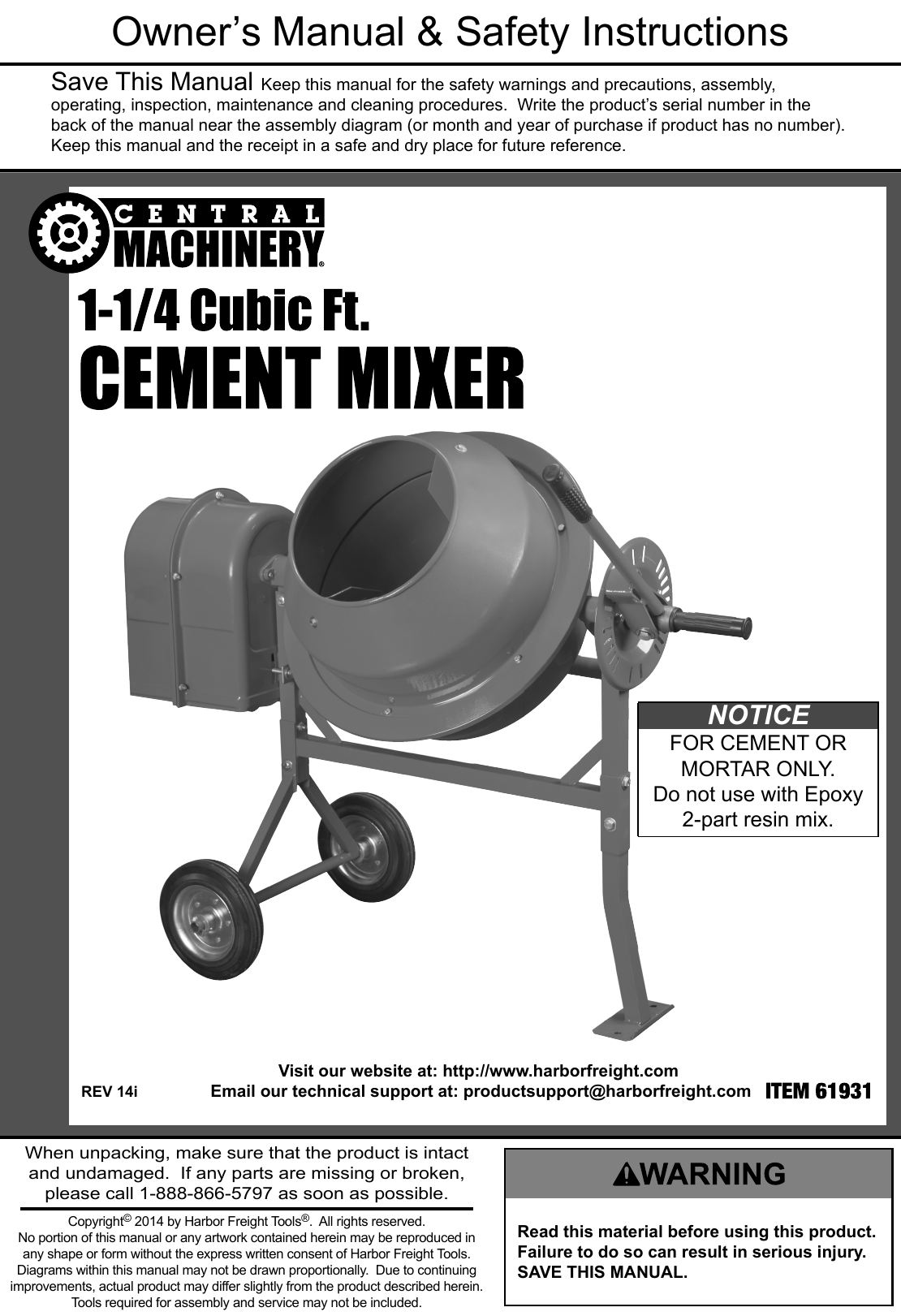 Manual For The 61931 1 1/4 Cubic Ft  Cement Mixer