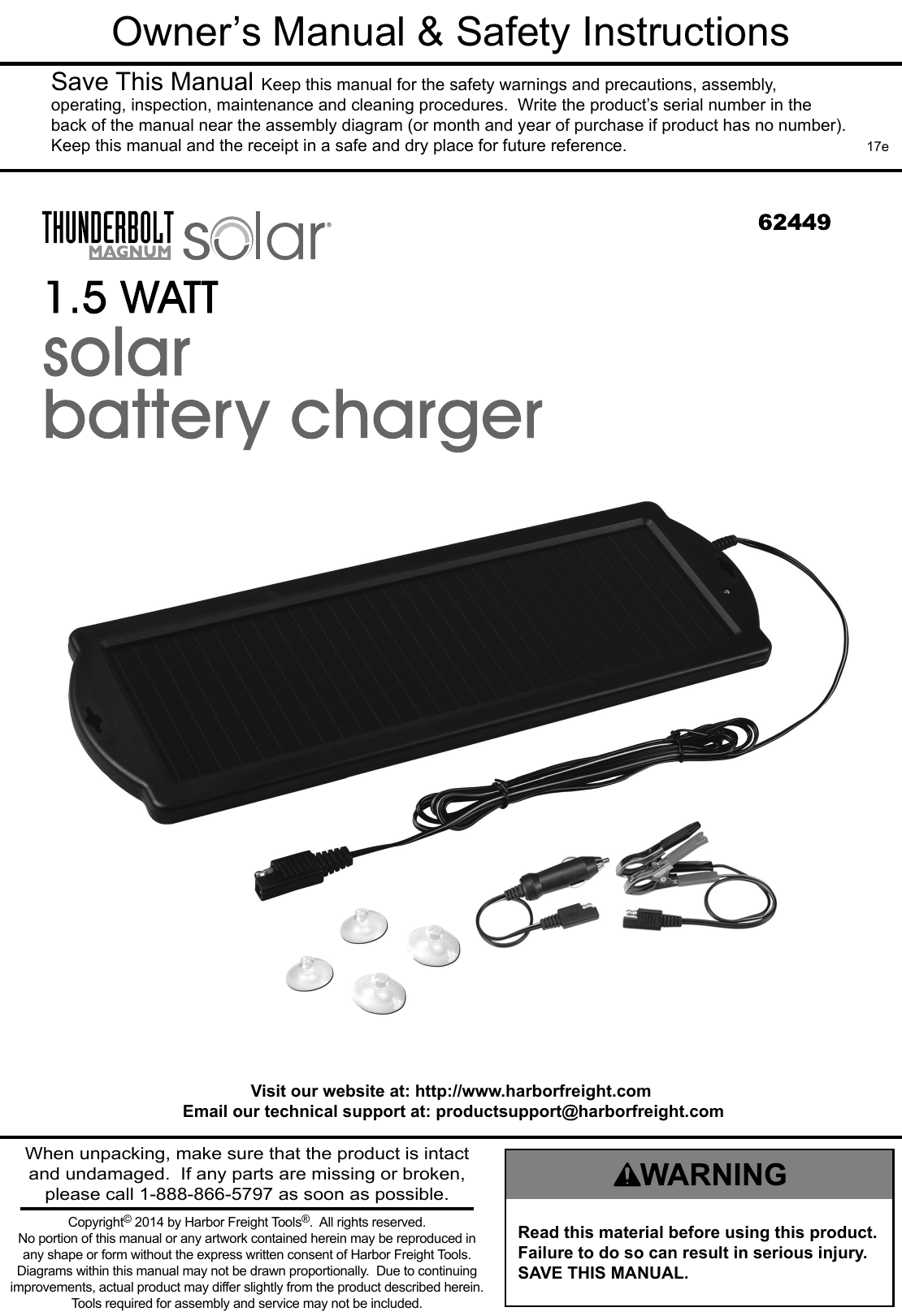 Manual For The 62449 1 5 Watt Solar Battery Charger