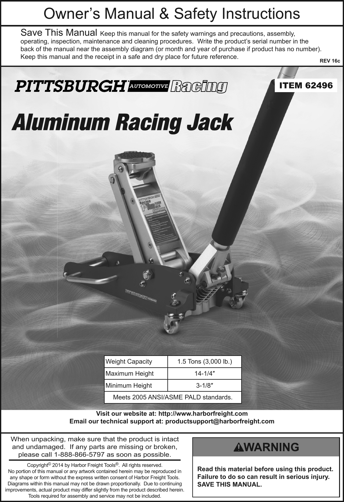 Manual For The 62496 1 5 Ton Compact Aluminum Racing Floor Jack
