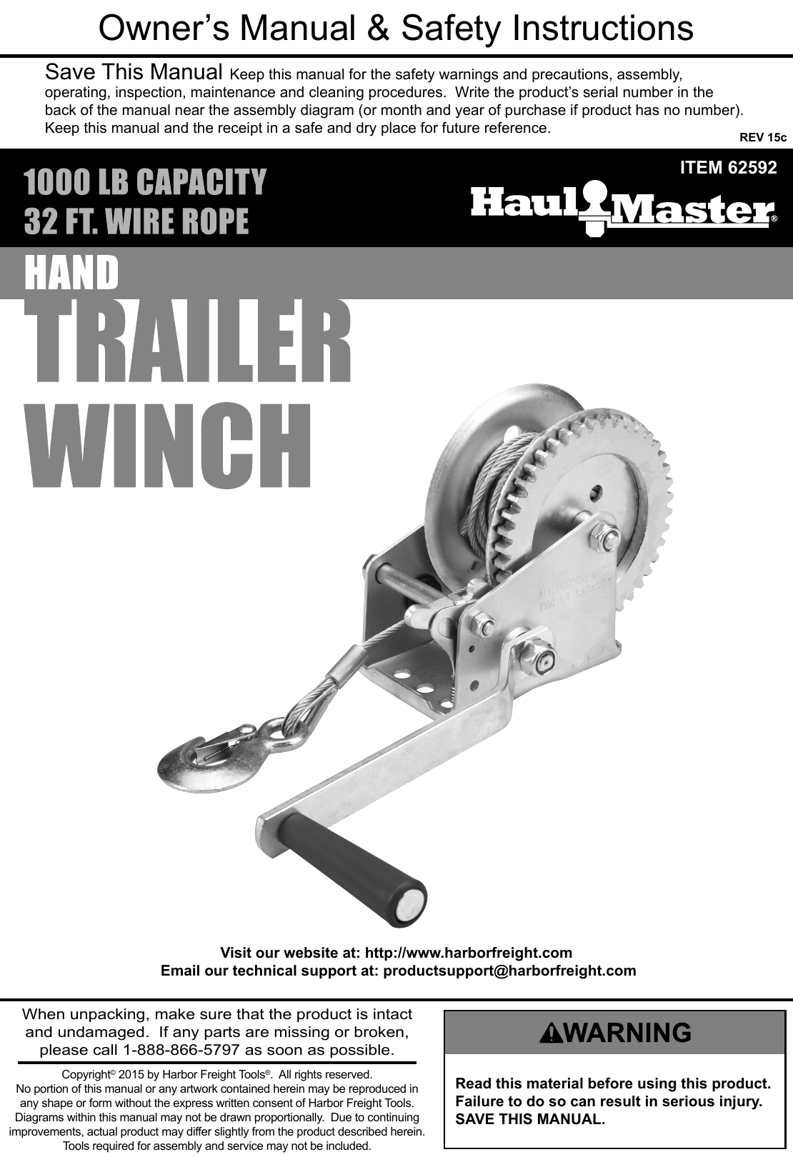 Manual For The 62592 1 2 Ton Capacity Hand Winch Further Harbor Freight Trailer On Wiring Kit Page Of 12