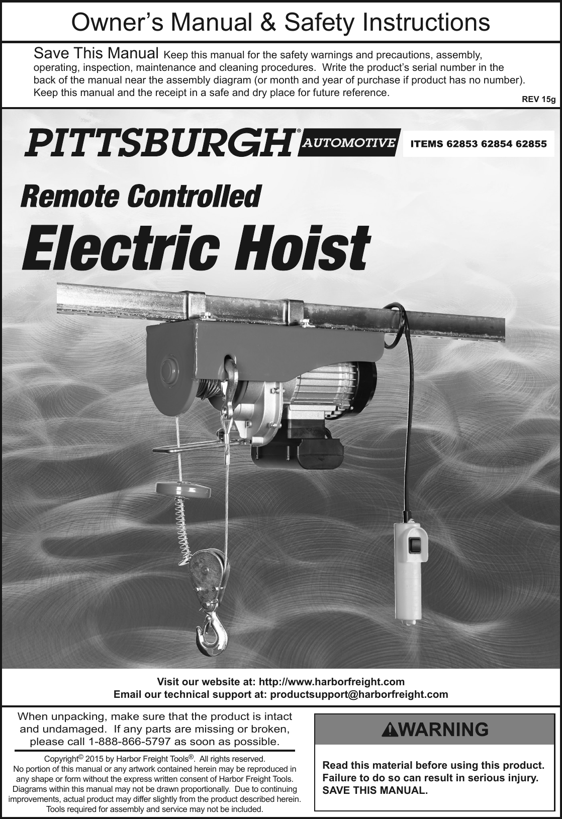 Manual For The 62854 880 Lb. Electric Hoist With Remote Control on