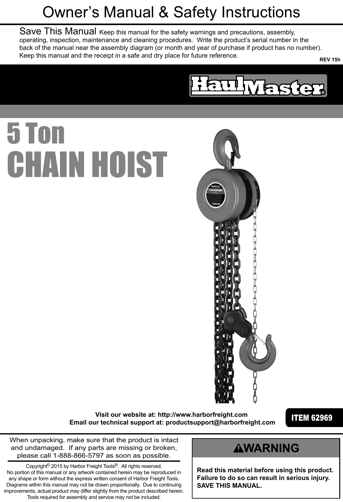 Manual For The 62969 5 Ton Chain Hoist 1 Cm Wiring Diagram Page Of 12