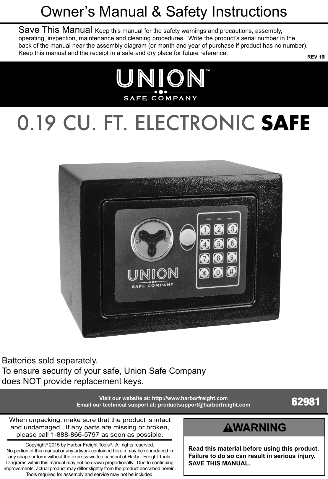 Manual For The 62981 0 19 Cubic Ft  Electronic Digital Safe