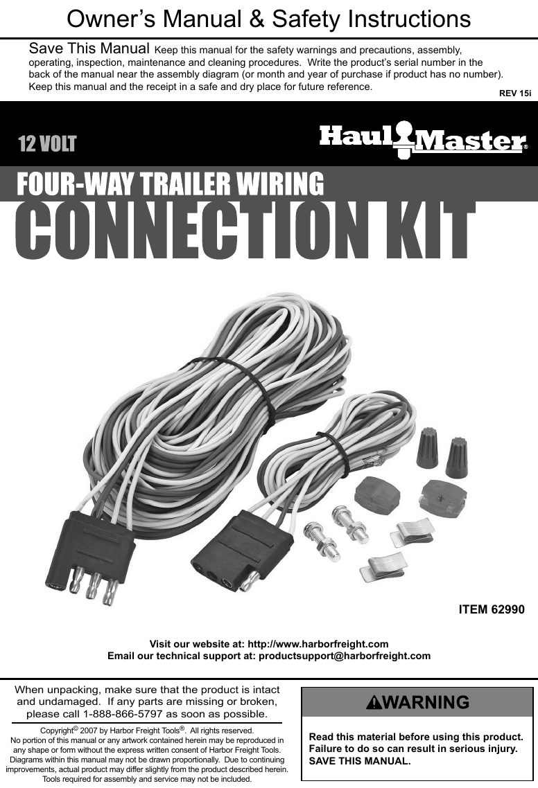 Pleasing Manual For The 62990 Four Way Trailer Wiring Connection Kit Wiring 101 Tzicihahutechinfo