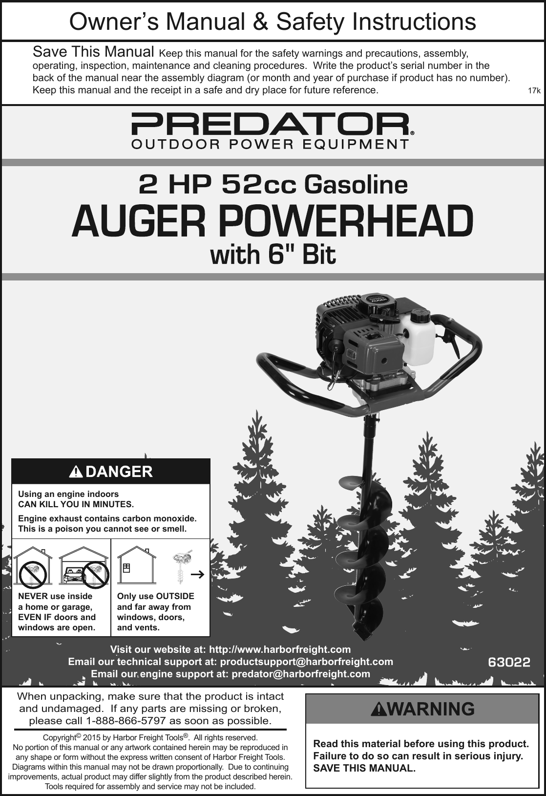 Manual For The 63022 Gas Powered Earth Auger