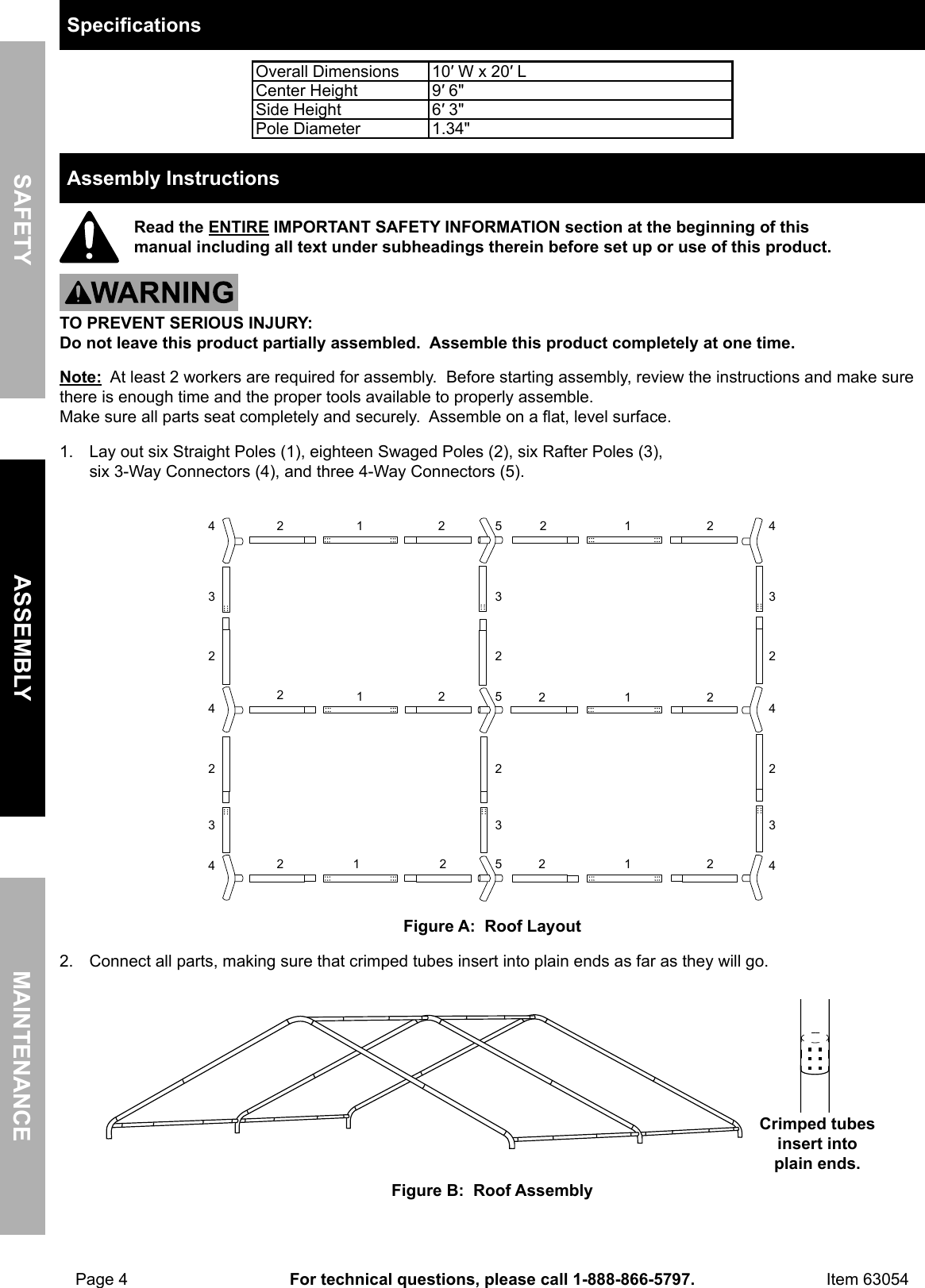 Manual For The 63054 10 Ft X 20 Portable Car Canopy