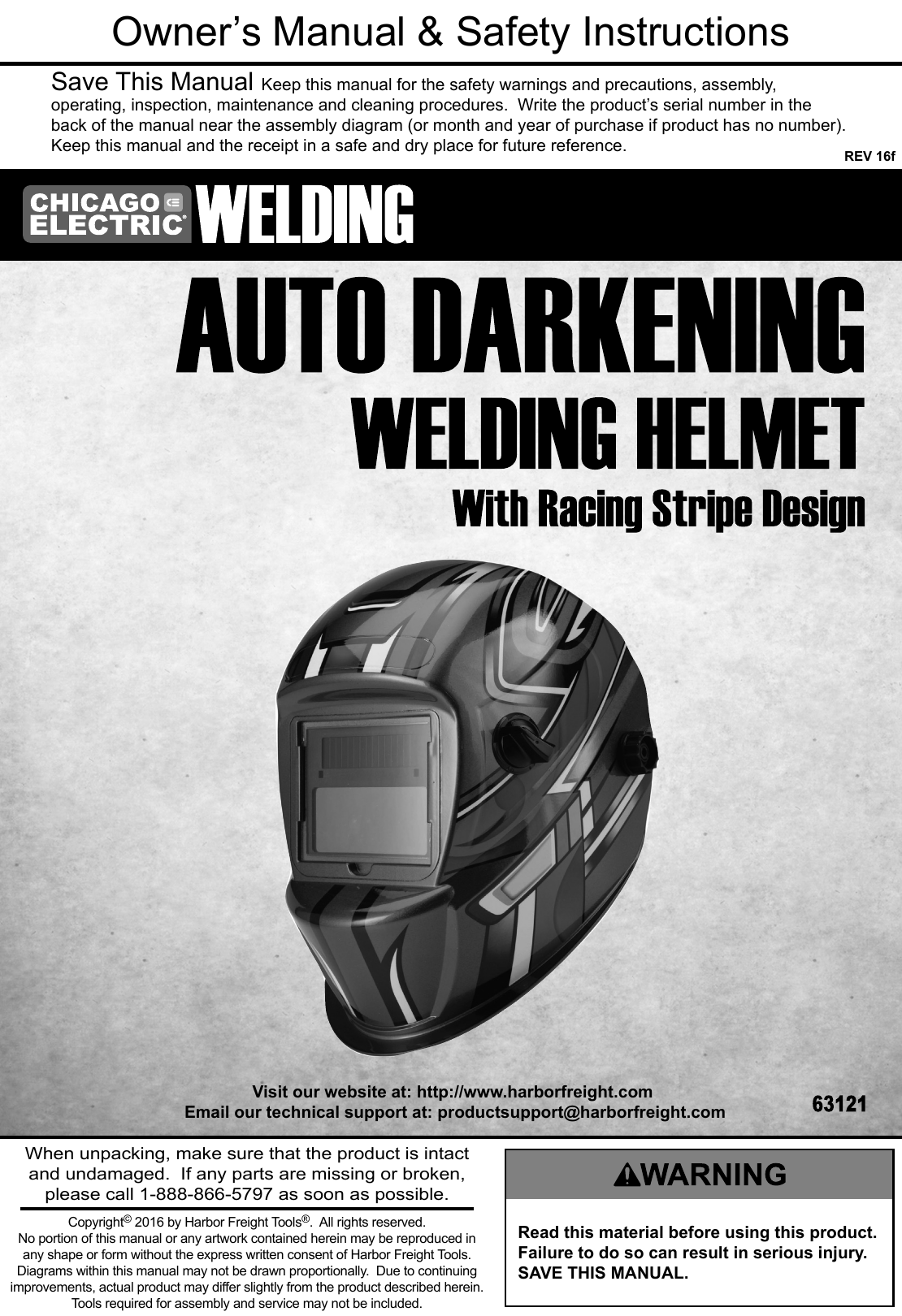 Manual For The 63121 Auto Darkening Welding Helmet With Racing