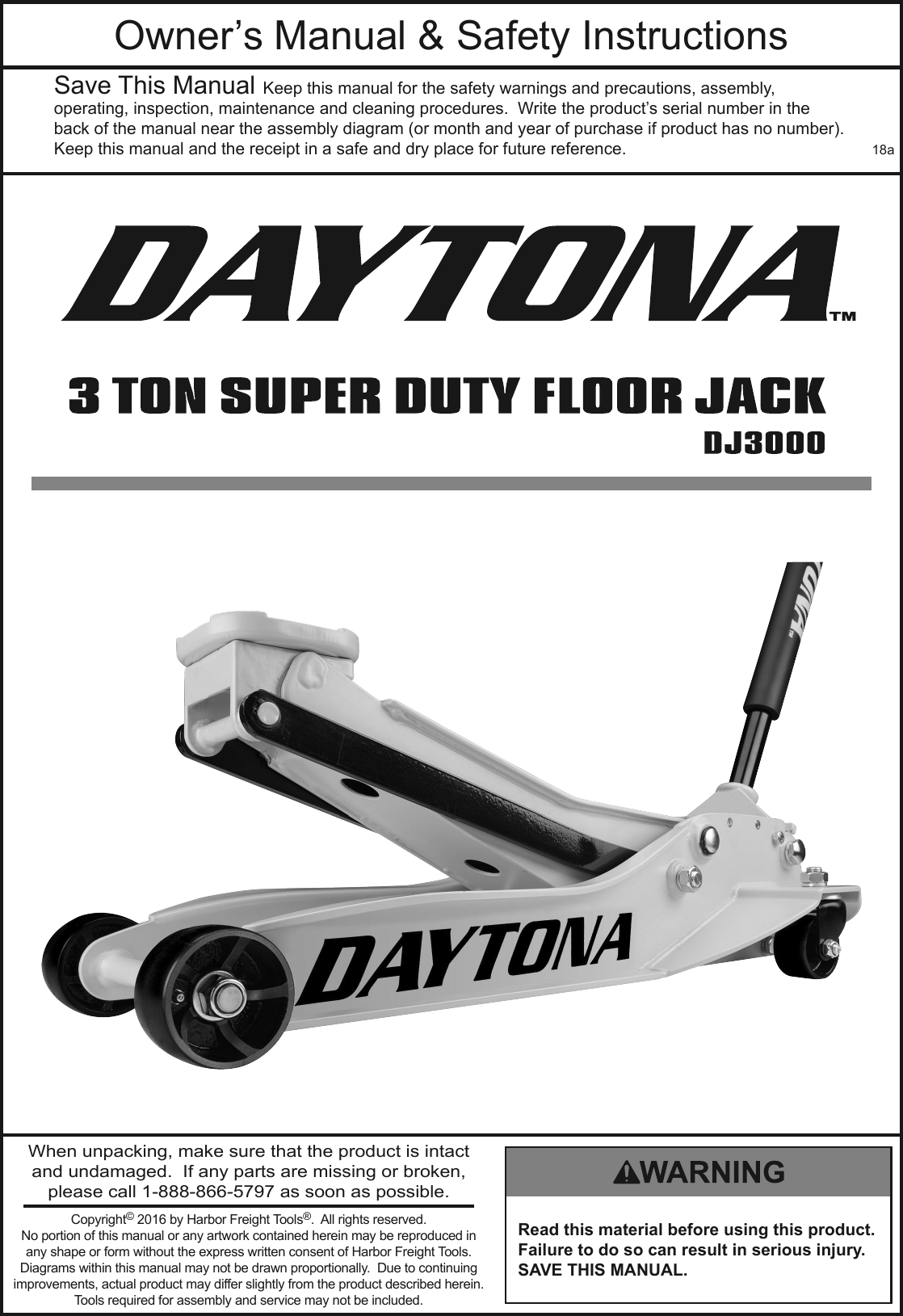 Manual For The 63183 3 Ton Daytona Professional Steel Floor Jack Hydraulic Diagram Pallet Parts Page 1 Of 12
