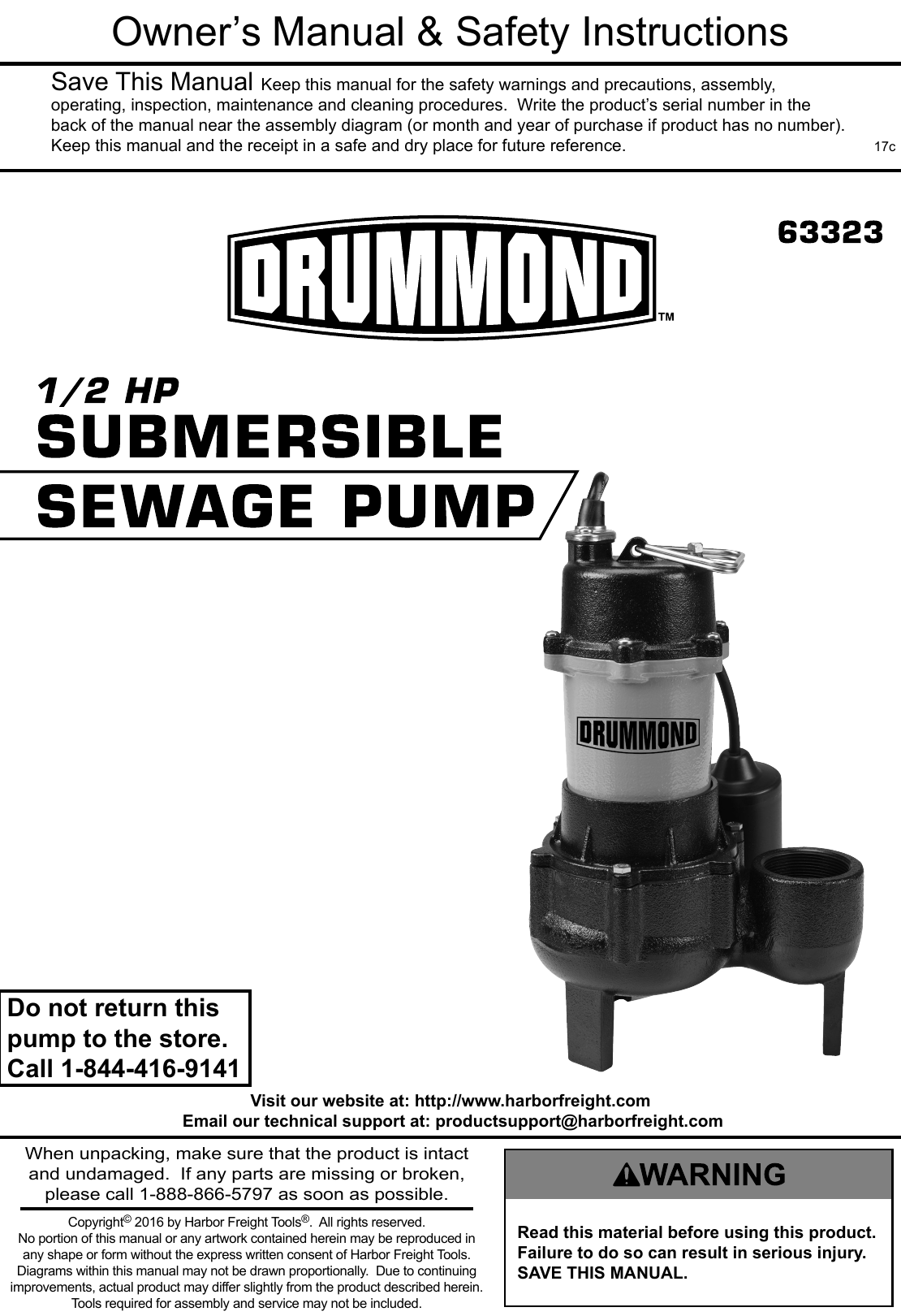 Manual For The 63323 1/2 HP Submersible Sewage Pump With Tether Switch