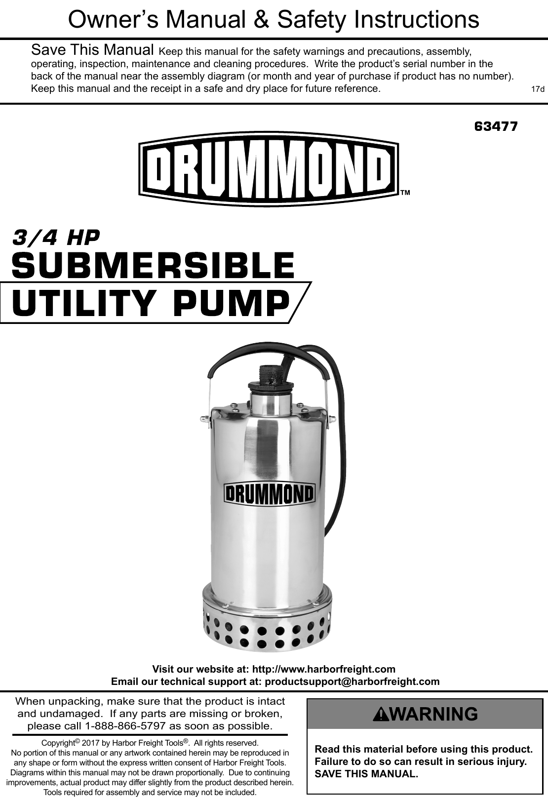 Manual For The 63477 3/4 HP Submersible Utility Pump