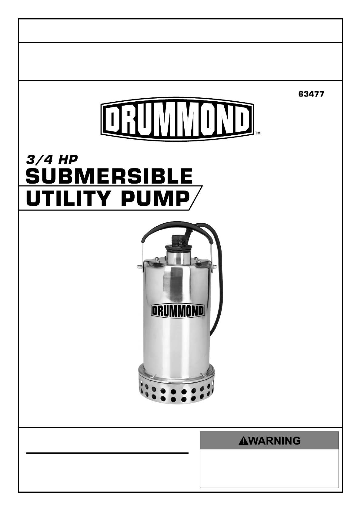 Manual For The 63477 3/4 HP Submersible Utility Pump Stainless Steel