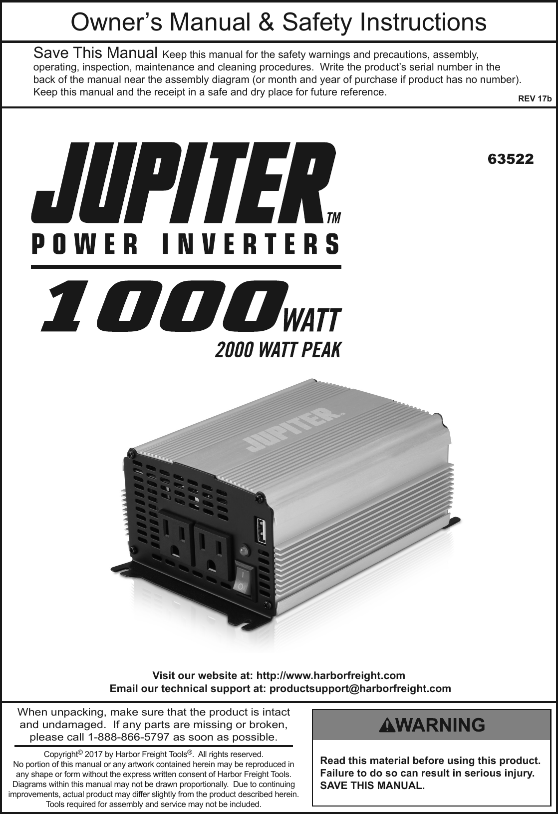 Manual For The 63522 1000 Watt Continuous 2000 Peak Power Inverter Circuit Diagram On 1500 Schematic Page 1 Of 12