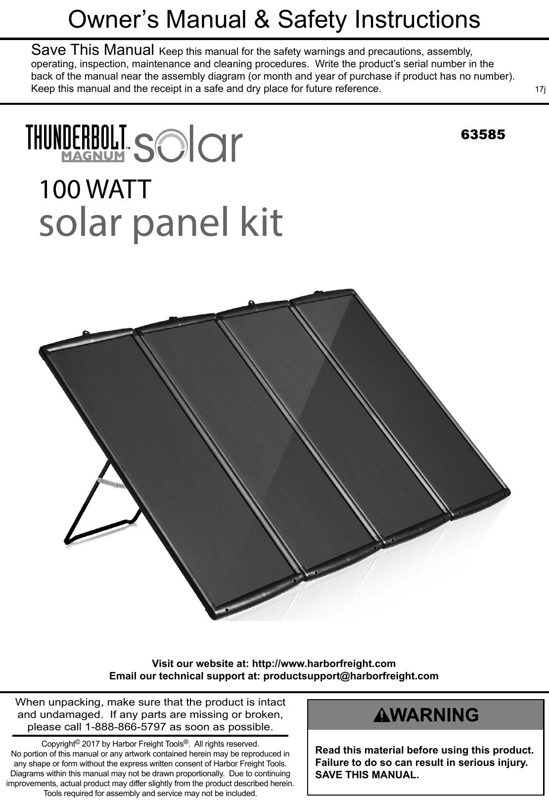Manual For The 63585 00 Watt Solar Panel Kit