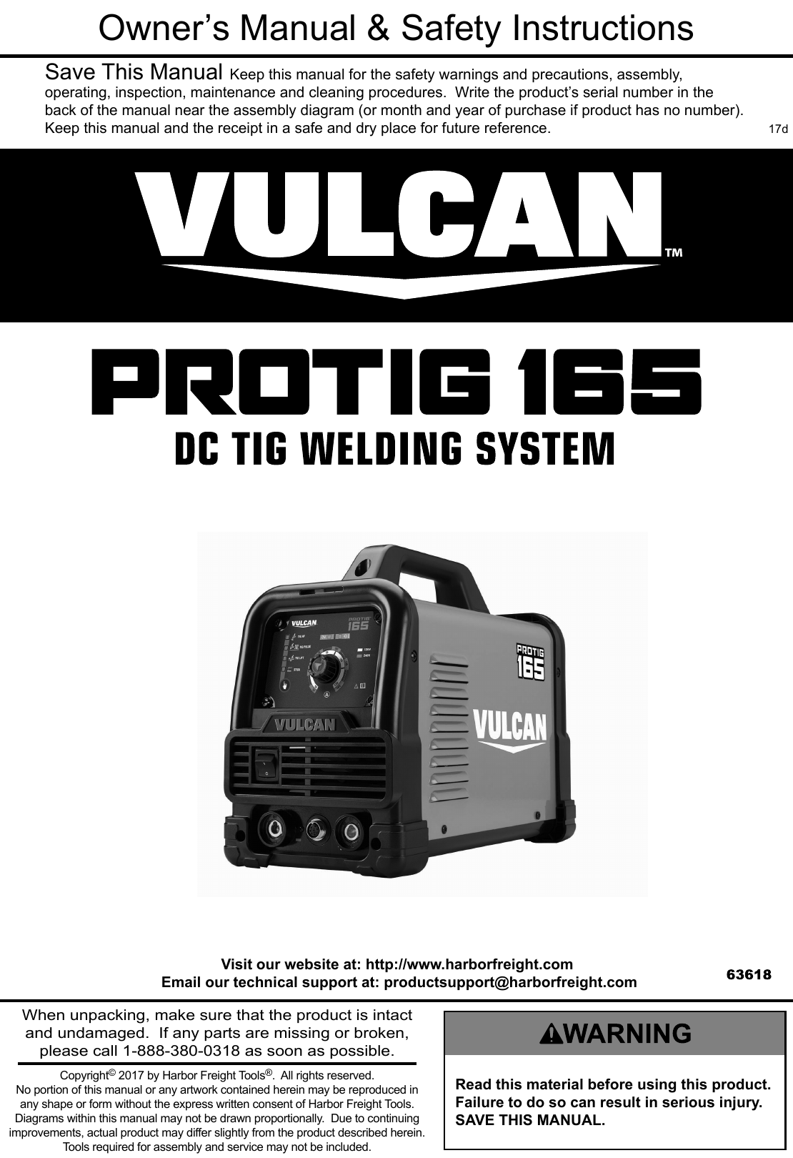Manual For The 63618 Pro Tig 165 Welder With 120 240 Volt Input How To Read A Welding Diagram